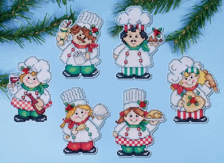 view large image 1687 cooking up christmas - Plastic Canvas Christmas Ornaments