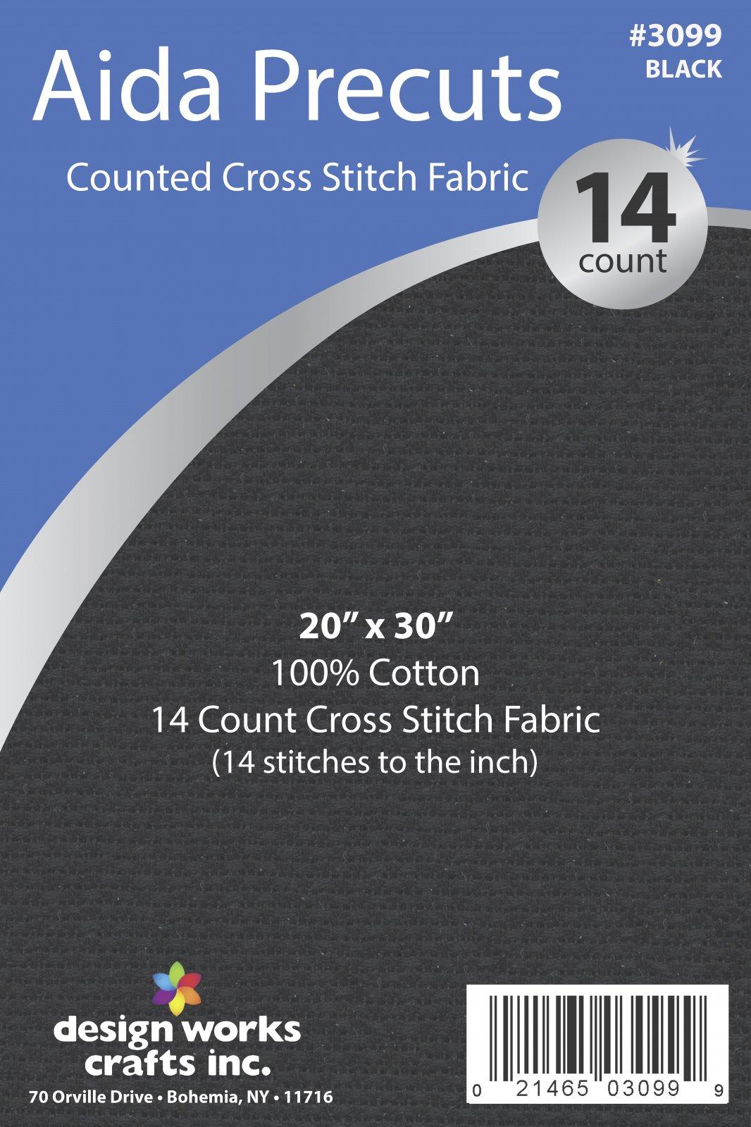 # 3099 - 14 Ct. Aida Pre-cut Counted Cross Stitch Fabric/Black - 20 x 30