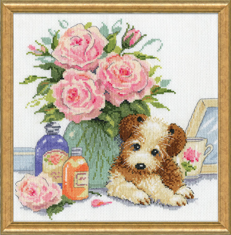 # 3264 Puppy with Roses