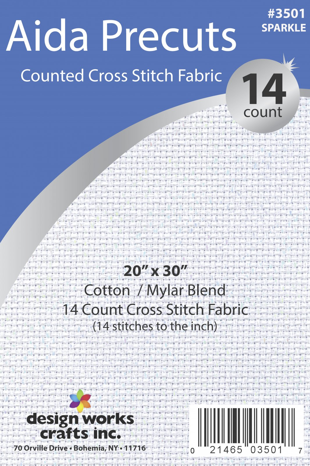 # 3501 - 14 Ct. Aida Pre-cut Counted Cross Stitch Fabric/Sparkle-White - 20 x 30