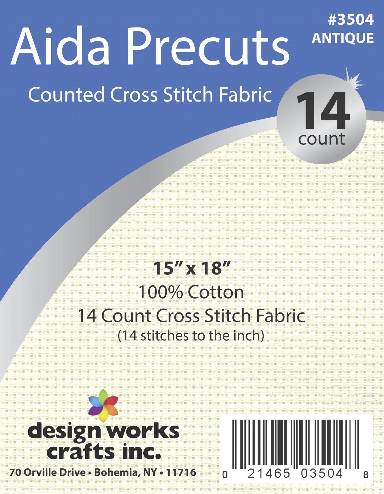 # 3504 - 14 Ct. Aida Pre-cut Counted Cross Stitch Fabric/Antique White - 15 x 18