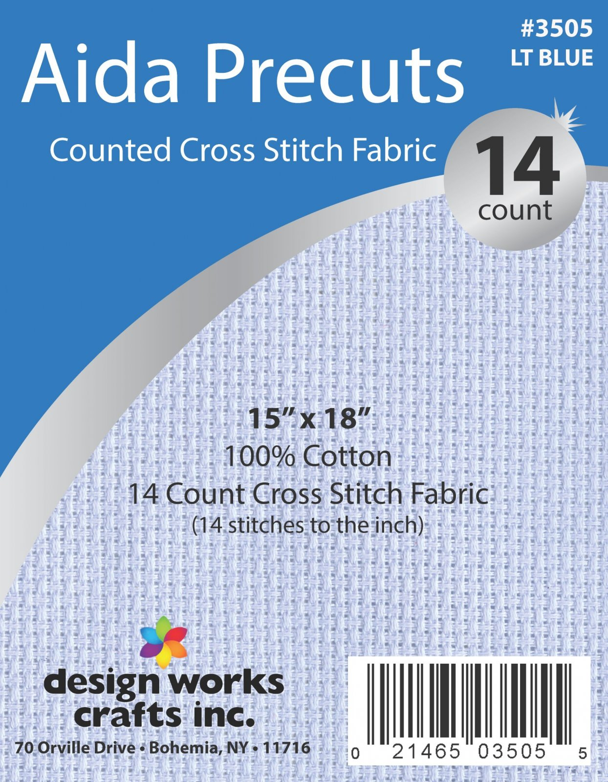 # 3505 - 14 Ct. Aida Pre-cut Counted Cross Stitch Fabric/Light Blue - 15 x 18