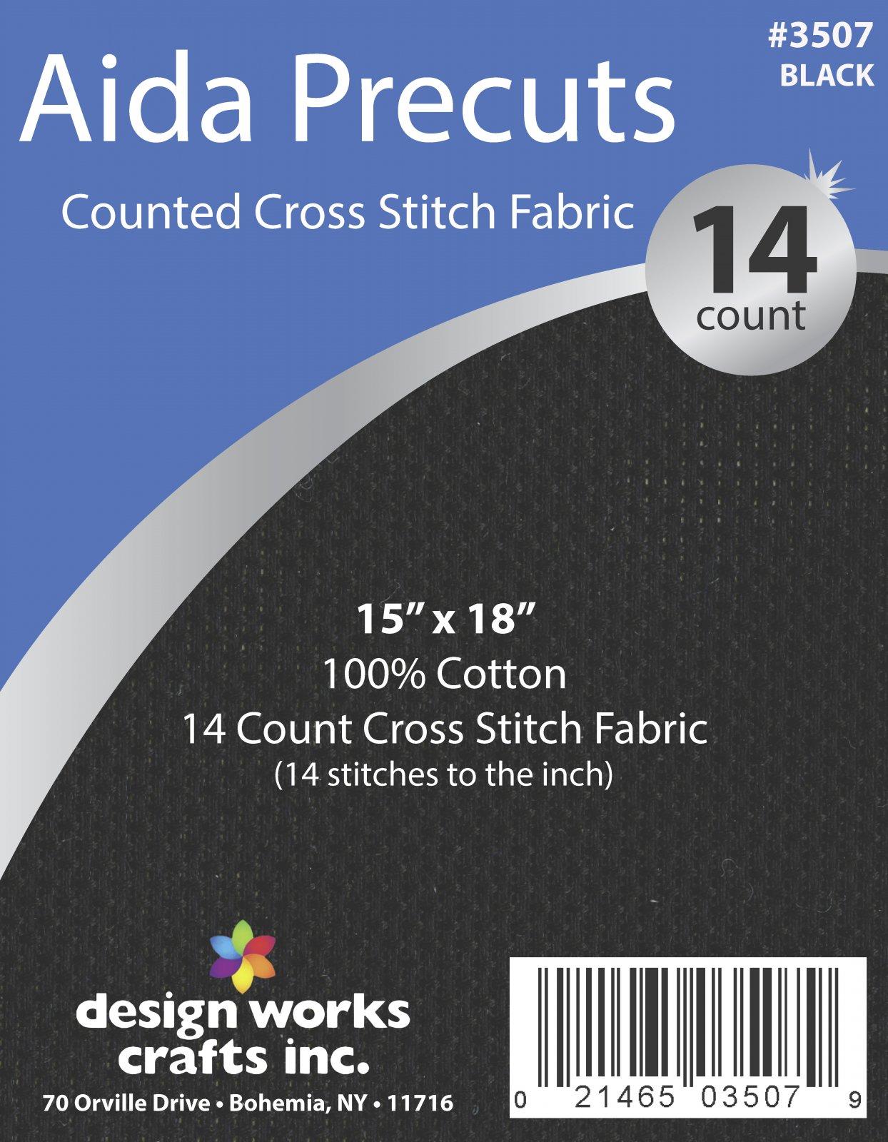 # 3507 - 14 Ct. Aida Pre-cut Counted Cross Stitch Fabric/Black - 15 x 18