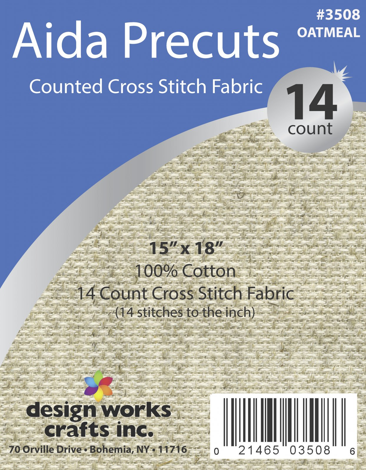 # 3508 - 14 Ct. Aida Pre-cut Counted Cross Stitch Fabric/Oatmeal - 15 x 18