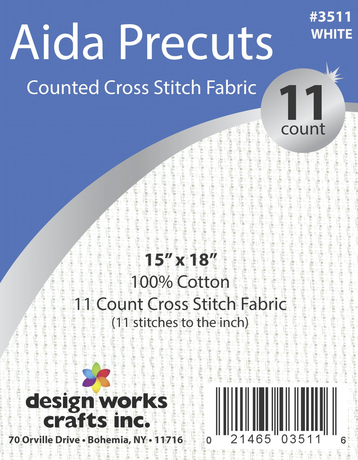 # 3511 - 11 Ct. Aida Pre-cut Counted Cross Stitch Fabric/White - 15 x 18