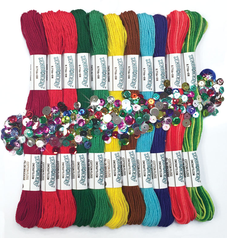 # 4033 Zenbroidery Christmas 12 Skein Floss Pack