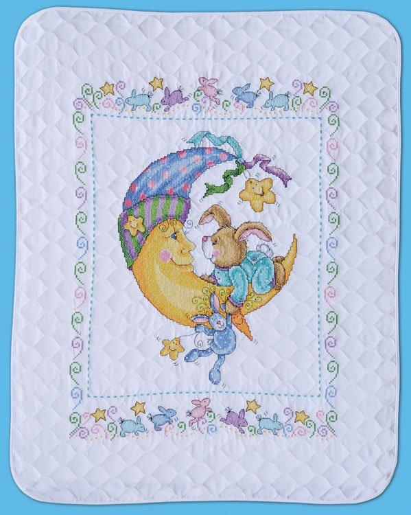 T21761 Bunny Baby Quilt - 021465217611 : stamped cross stitch baby quilts - Adamdwight.com