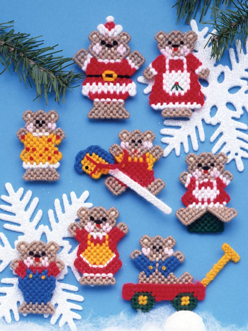view large image 1218 christmas teddy bears set of 8 plastic canvas - Plastic Canvas Christmas Ornaments