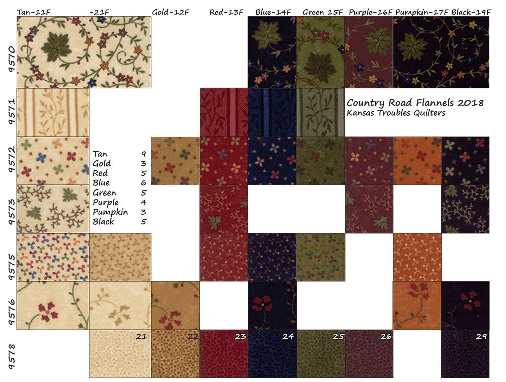 Country Road Flannel SKU Chart
