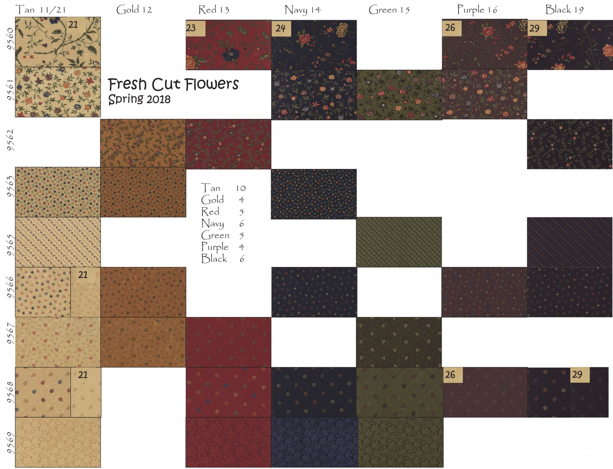 Fresh Cut Flowers Swatch Chart