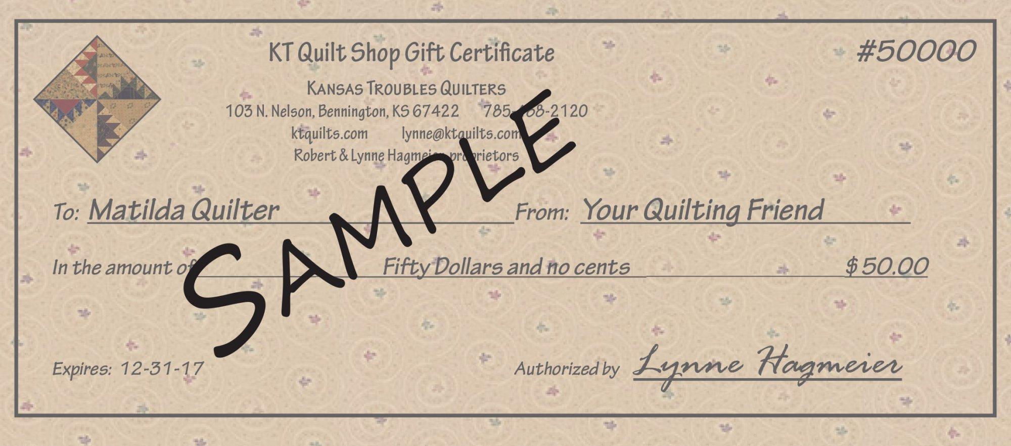 KT Gift Certificates