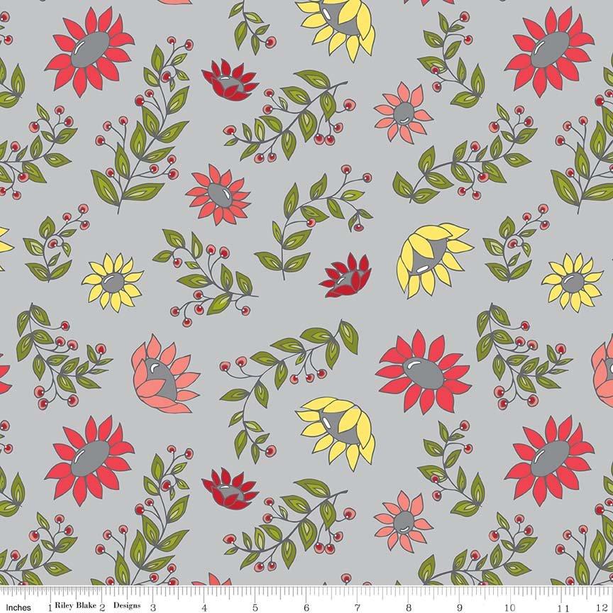 Monday, Monday Floral Print - Gray