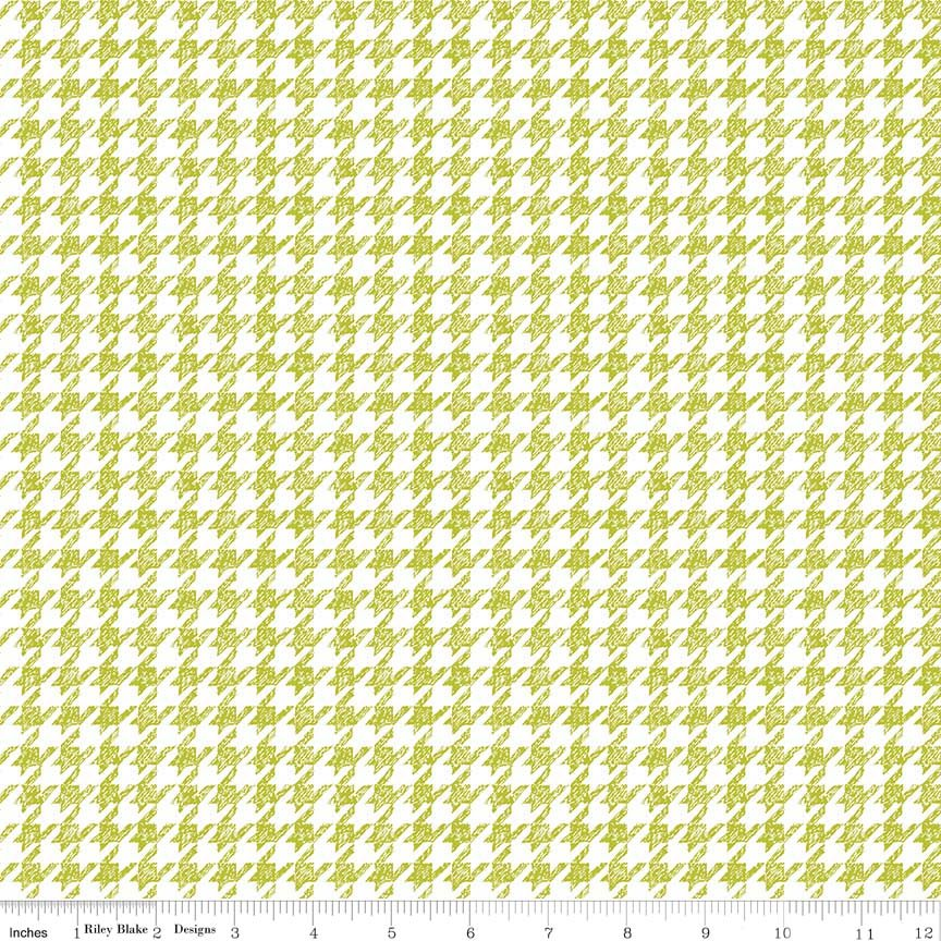 Meadow Sweets Green and White Houndstooth