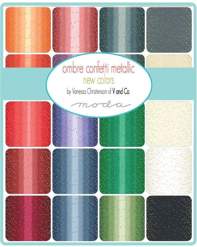 Moda Vanessa Christensen Ombre Confetti Metallic Fabric in Mint 10807-210M