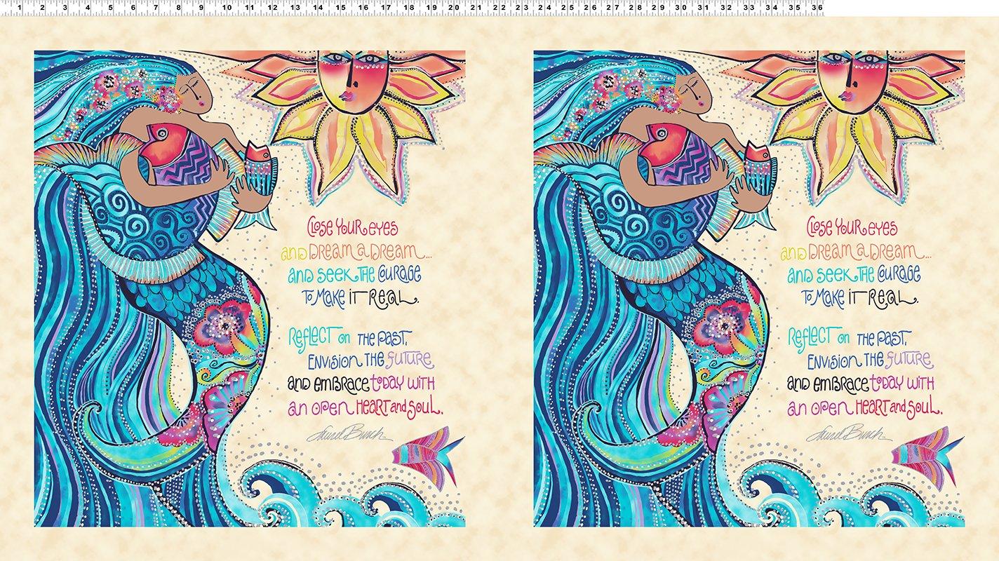 Sea Goddess Cream Metallic Panel Y2596-57M