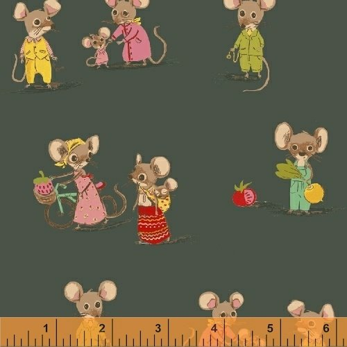 Trixie Country Mouse by Heather Ross 50897-3 Dk Green
