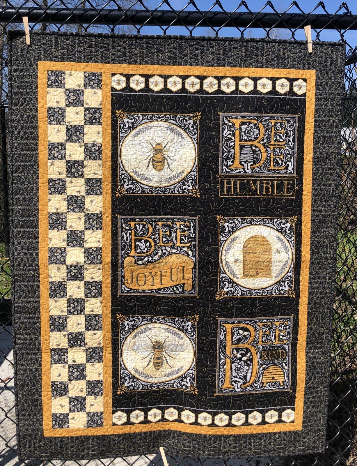 Bee Joyful Black Panel Quilt Kit