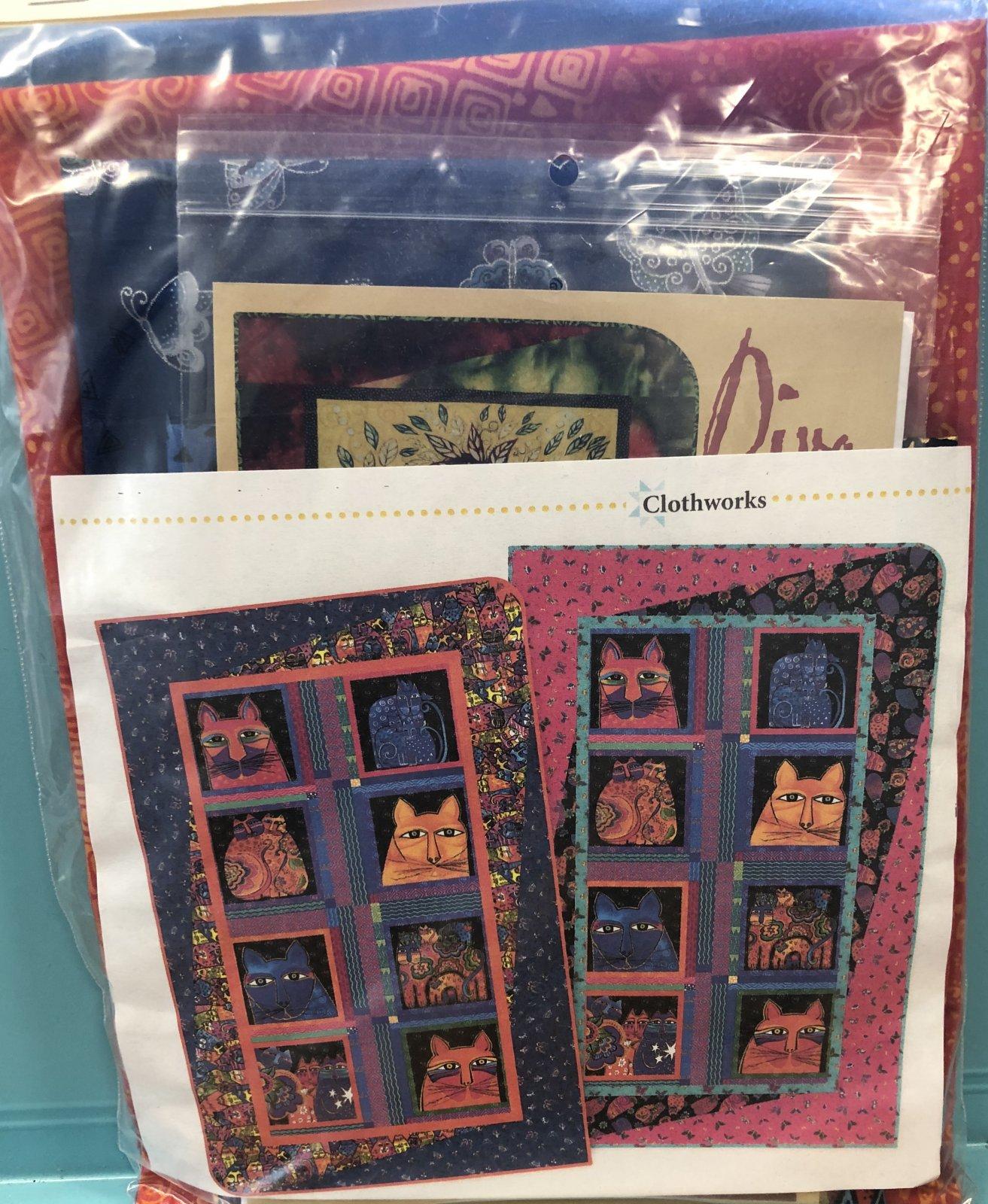 Diva Cats Quilt Kit, Laurel Burch Blue Border