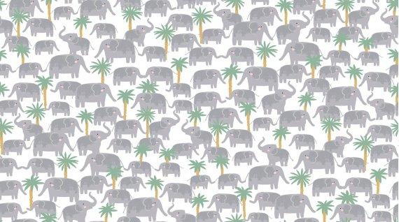 Elephant Trek by Dear Stella 1214 White