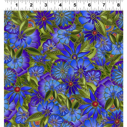 Sea Goddess Royal Blue Medium Floral Y2599-31