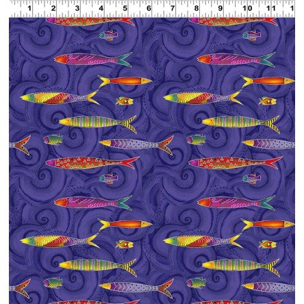 Sea Goddess by Laurel Burch Dark Purple Metallic Fish y2600-28M