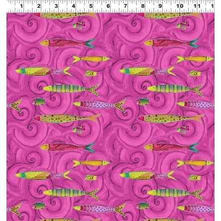 Sea Goddess by Laurel Burch Raspberry Metallic Fish Y2600-74M