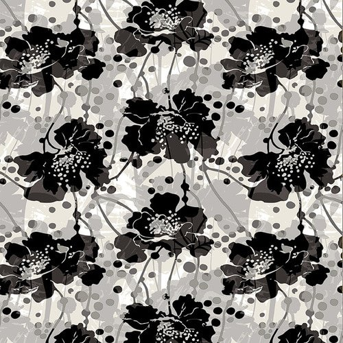 Black/White Large Modern Floral