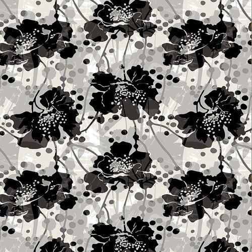 Black/White Large Modern Floral