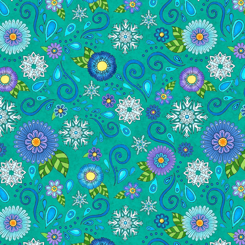 Multi Arctic Wonderland Teal Snowflake Flower Toss