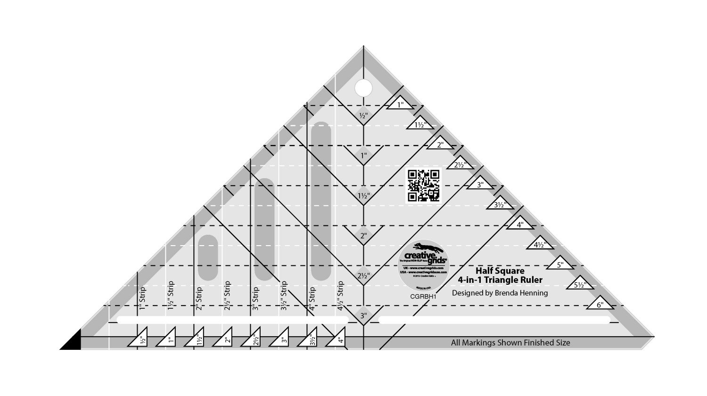 Creative Grids Half Square 4-in-1 Triangle Ruler