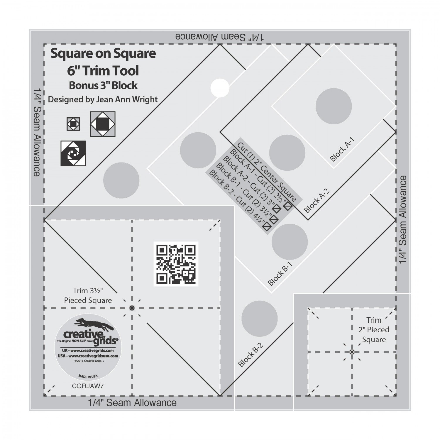 Creative Grids 6 Square on Square Ruler