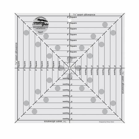 Creative Grids 9 1/2 Square It Up Fussy Cut Ruler