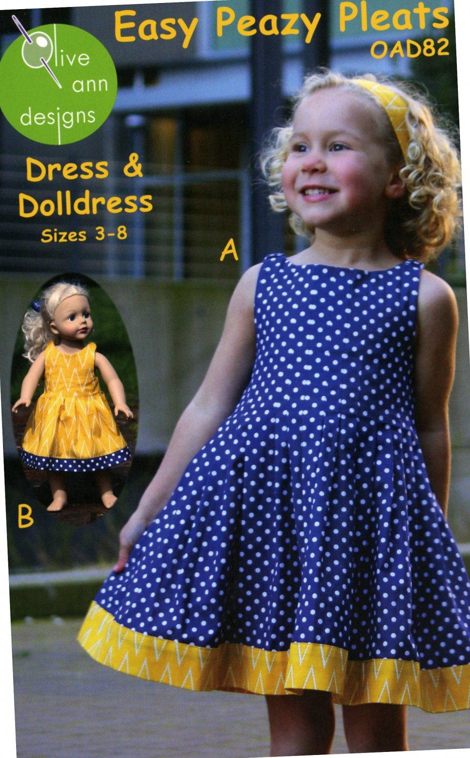 Easy Peazy Pleats Dress & Doll Dress # OAD82