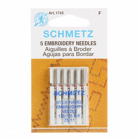 Schmetz 75/11 Embroidery Needles 5 pack
