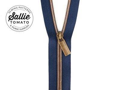 3 Yards #5 Nylon Zipper and Pulls Navy/Antique