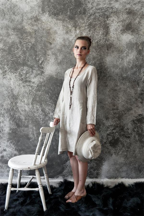 Natural Romantic Dress in Linen