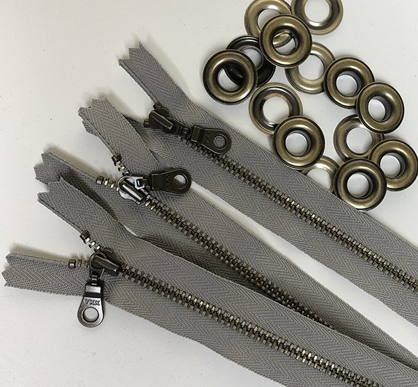 Forage Bags Extra Hardware Antique Brass 8 Donut Pull Zipper In Grey and Grommets (Free Shipping)