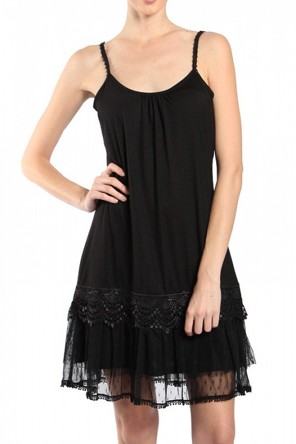 Black Slip Dress with Lace and Tulle Accents Misses Size