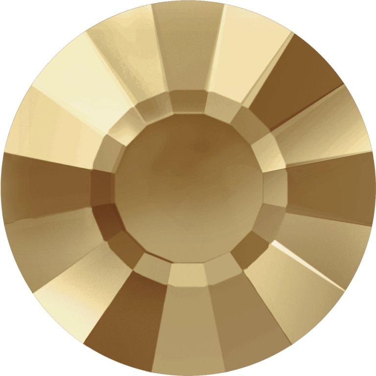 #2034 Crystal Golden Shadow #001GSHA Flat Circle 10ss/3mm Swarovski Flat Back Hotfix