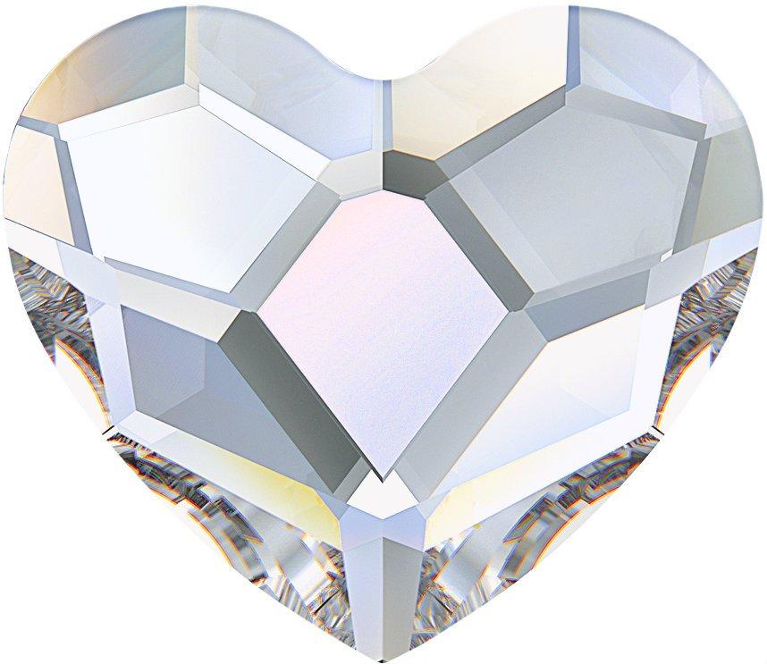 #2808 Crystal AB #001AB Heart 6mm Swarovski Flat Back Hotfix Crystal