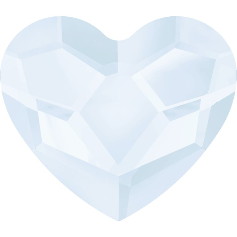 #2808 Crystal Powder Blue #001PBLU Heart 6mm Swarovski Flat Back Hotfix Crystal