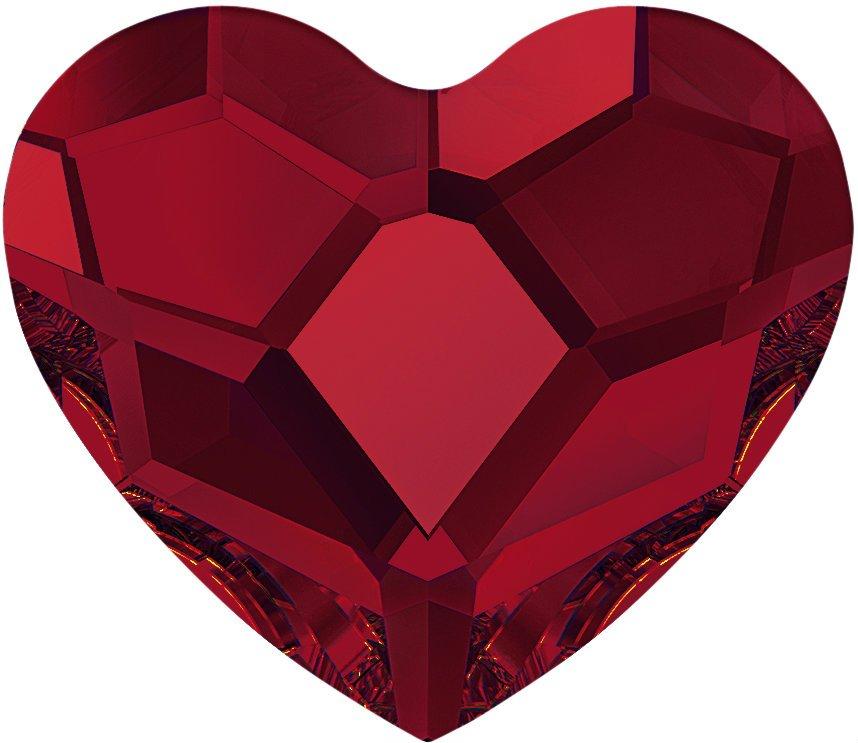 #2808 Light Siam #227 Heart 10mm Swarovski Flat Back Hotfix Crystal