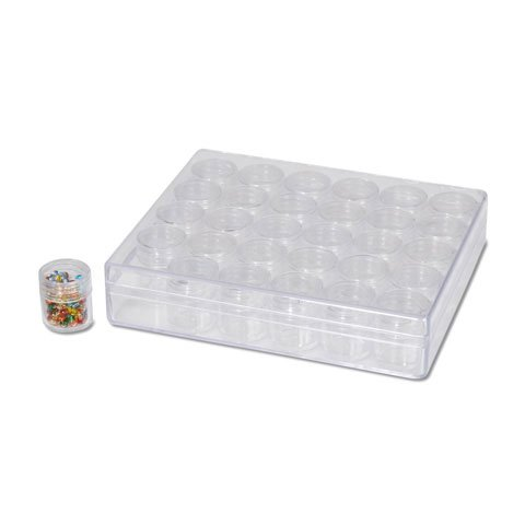 30 cell Empty Crystal or Bead Storage Container with Screw-on Lids