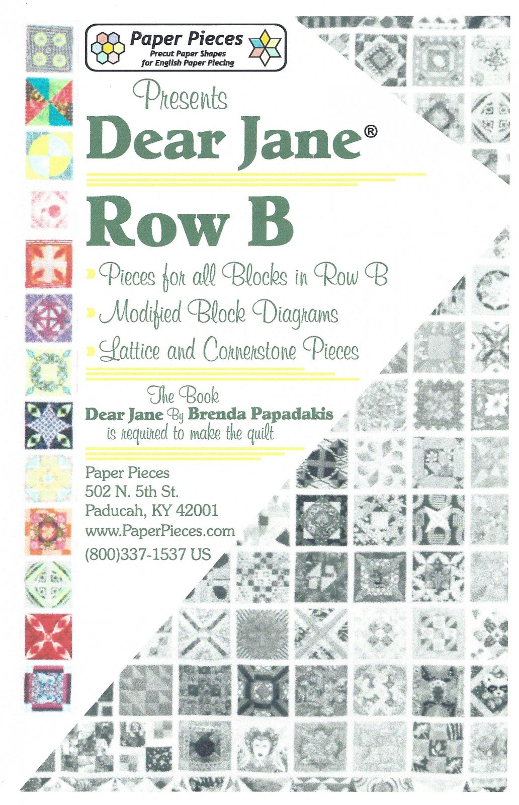 Dear Jane (Row B) EPP Paper Pieces Kit