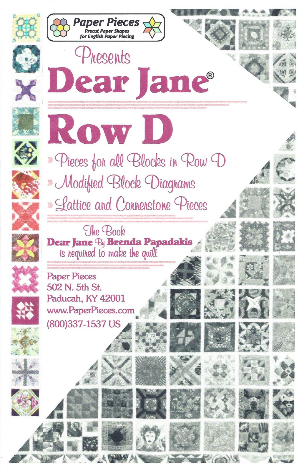 Dear Jane (Row D) EPP Paper Pieces Kit