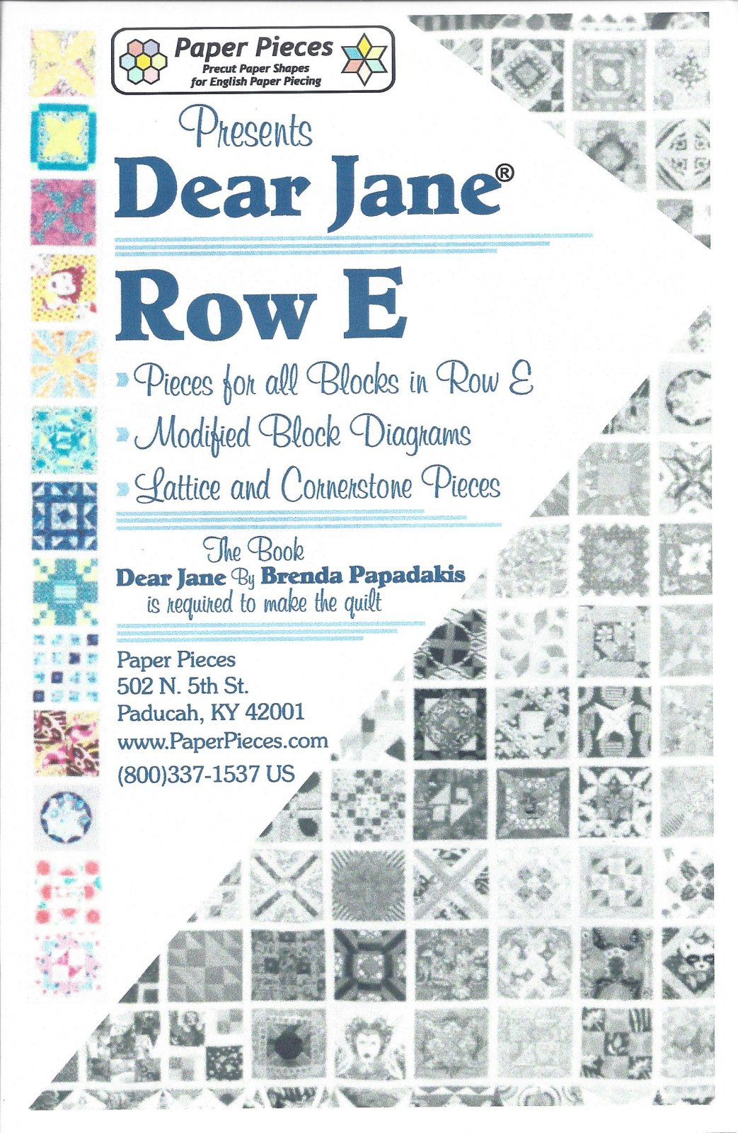 Dear Jane (Row E) EPP Paper Pieces Kit