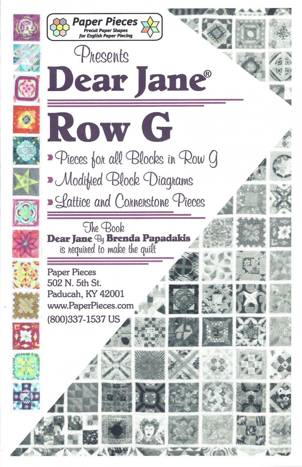 Dear Jane (Row G) EPP Paper Pieces Kit