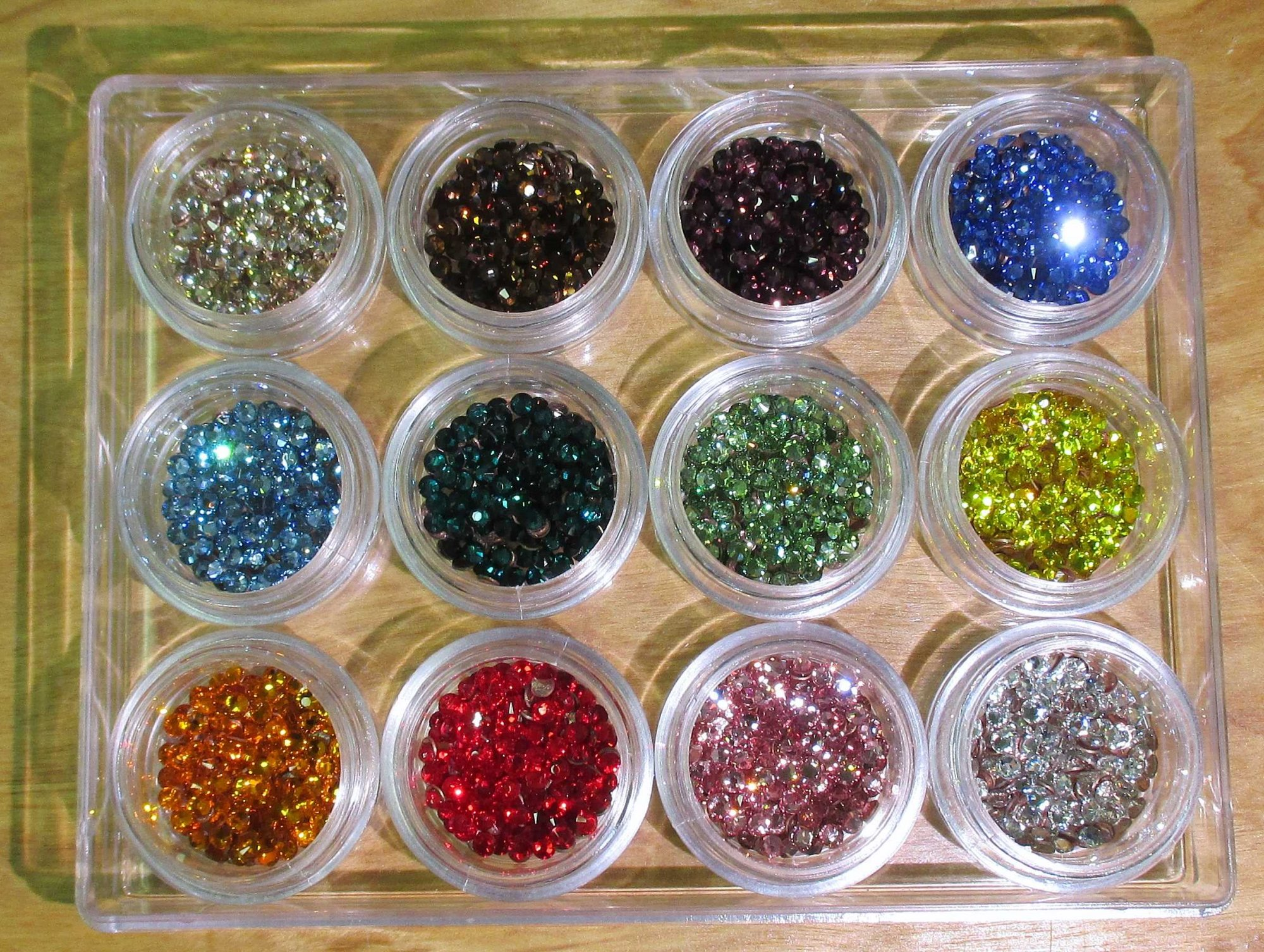 Mega Variety Pack 10ss/3mm Swarovski Flat Back Hotfix 12 Colors with Storage Container