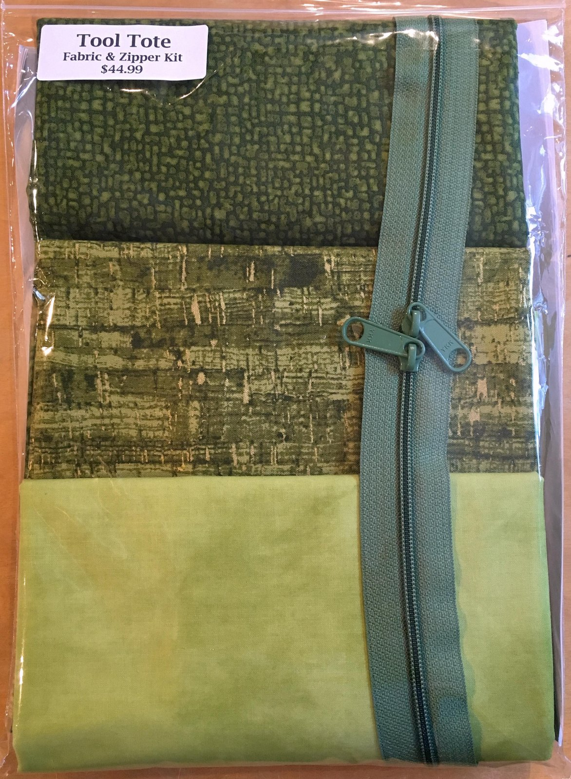 Tool Tote Green Trio - Fabric & Zipper Kit ONLY