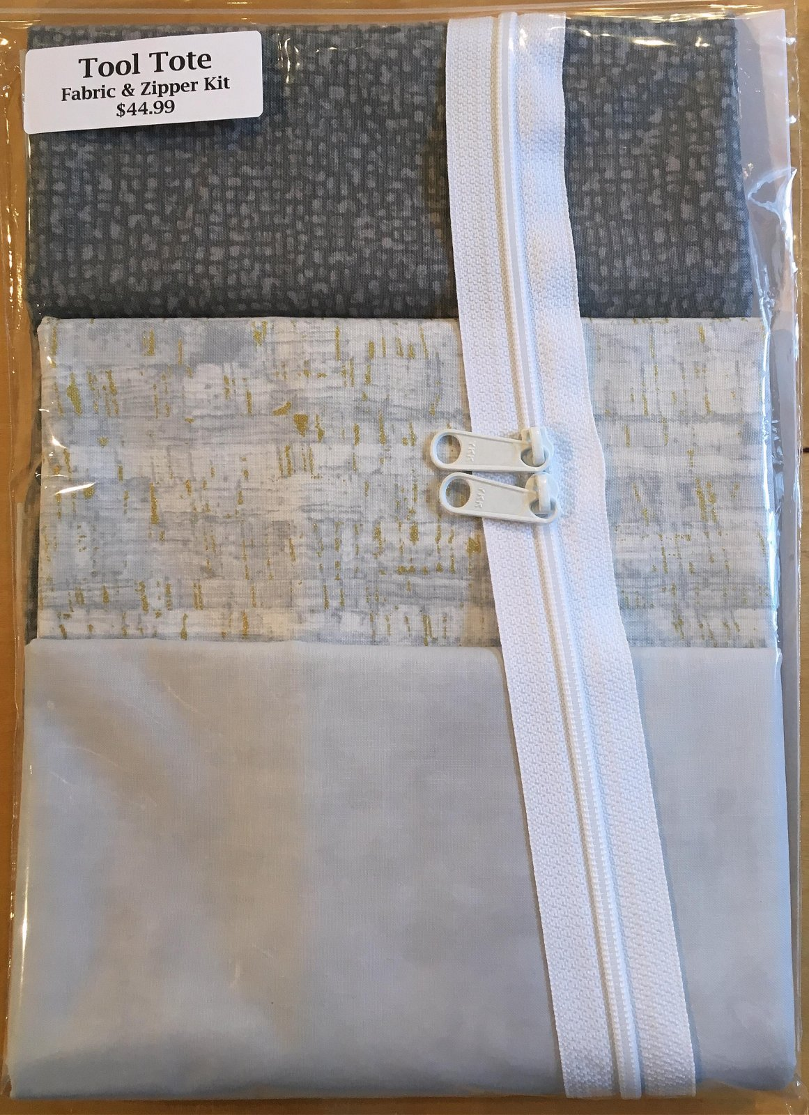 Tool Tote Grey Trio - Fabric & Zipper Kit ONLY